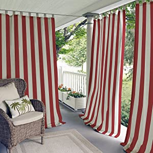 "Elrene Home Fashions Highland Stripe Indoor/Outdoor Adhesive Loop Fastener Tab Top Window Curtain Panel for Patio, Pergola, Porch, Deck, Lanai, and Cabana, 50""x108"" (1, Red"