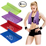 """4 Piece Cooling Towel Set (36""""x12""""), Soft Microfiber Towel with Evaporative Cooling for Sports, Gym, Fitness, Running, Crossfit, Hiking, Yoga, Travel, Camping, & More - NoApollo"""