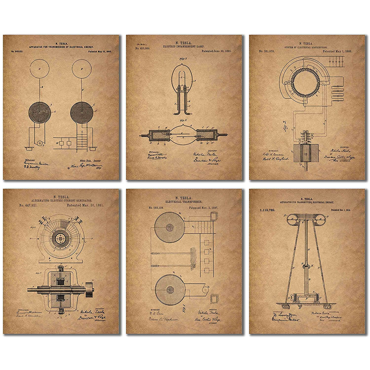 Tesla Patent Wall Art Prints - Set of Six Vintage 8x10 Photos