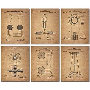Tesla Patent Wall Art Prints - Set of Six Vintage 8x10 Photos