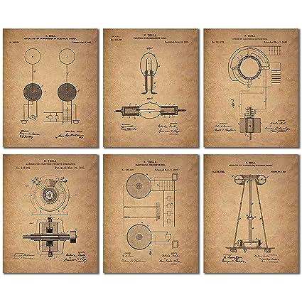 Tesla patent wall art prints set of six vintage 8x10 photos
