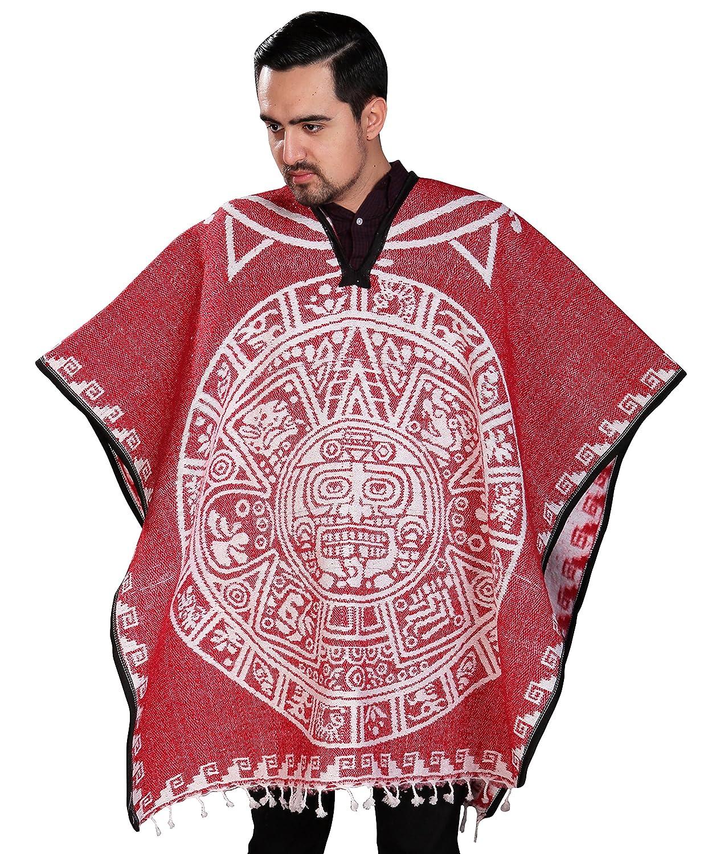 Threads West Authentic Mexican Poncho Reversible Cobija Blanket - Aztec Calendar TWEST-PON-BLK