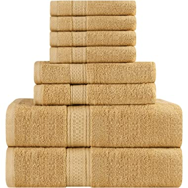 Utopia Towels Premium 8 Piece Towel Set (Beige); 2 Bath Towels, 2 Hand Towels and 4 Washcloths - Cotton - Machine Washable, Hotel Quality, Super Soft and Highly Absorbent