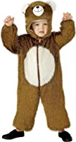 Smiffy's Children's Unisex All In One Bear Costume, Jumpsuit with Hood, Party Animals, SIze:S, Colour: Brown and White, 30803