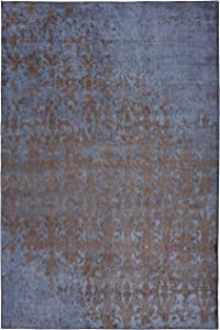 Mylife Rugs Bergamo Collection Contemporary Modern Non Slip (Non-Skid) Machine Washable Abstract Area Runner Rug ( 4'x6', Blue-Gold Blue-Gold )