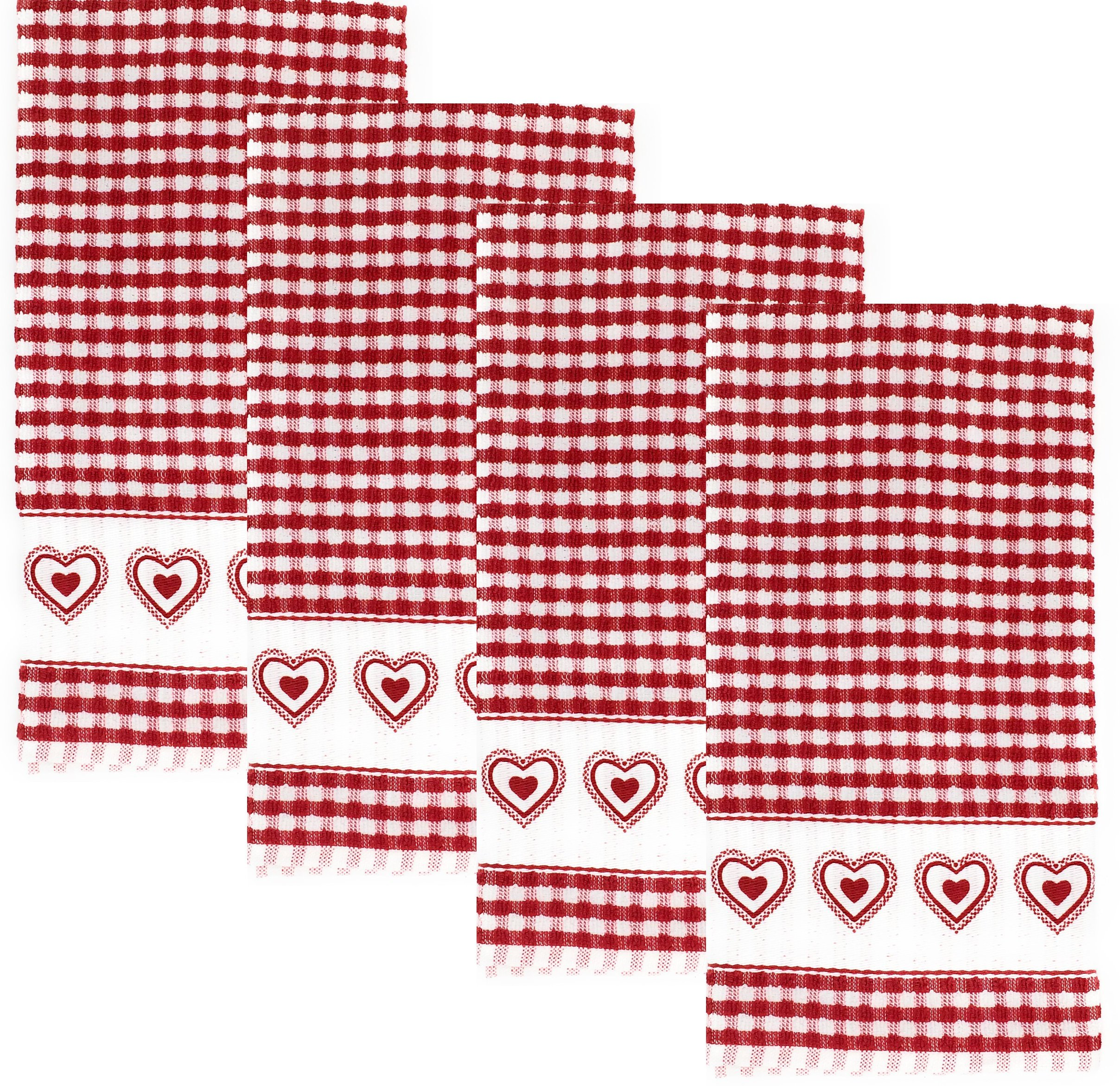 Double Heart Terrycloth Kitchen Towels, Set of 4 (Red)
