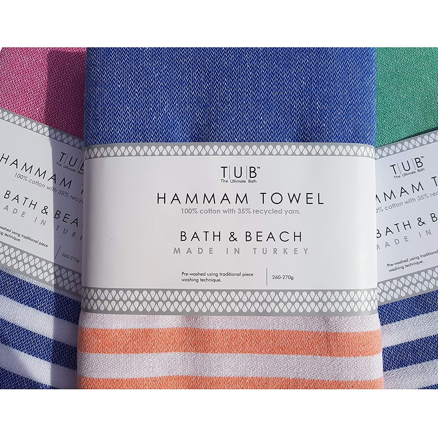 100 x 180cm XL Eco-friendly Hammam Turkish Towel by TUB Lightweight gift travel beach holiday spa NIGHT BLUE /& ORANGE ***LAUNCH OFFER RRP /£24.99*** Made with 100/% cotton /& 35/% recycled yarns