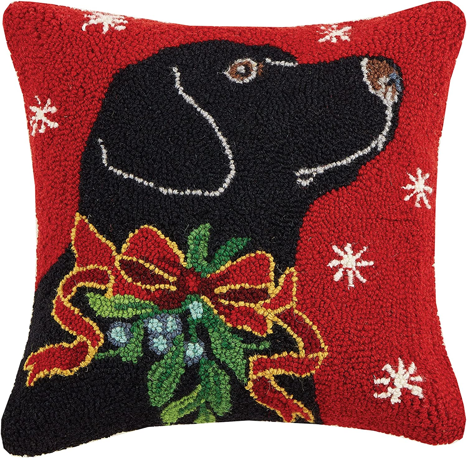 Peking Handicraft Lab With Holly Ribbon Holiday Hook Wool Throw Pillow Black Red Home Kitchen