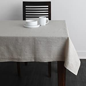 Solino Home 100% Linen Tablecloth - 60 x 132 Inch Natural, Natural Fabric, European Flax - Athena Rectangular Tablecloth for Indoor and Outdoor use