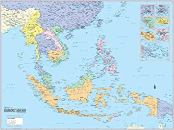 Political Map East Asia.Cool Owl Maps East Asia Wall Map Poster Laminated 32 X24 Amazon Co