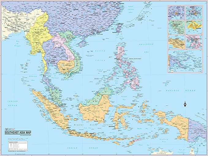 Map Of The World Asia.Amazon Com Cool Owl Maps Southeast Asia Wall Map Poster Laminated