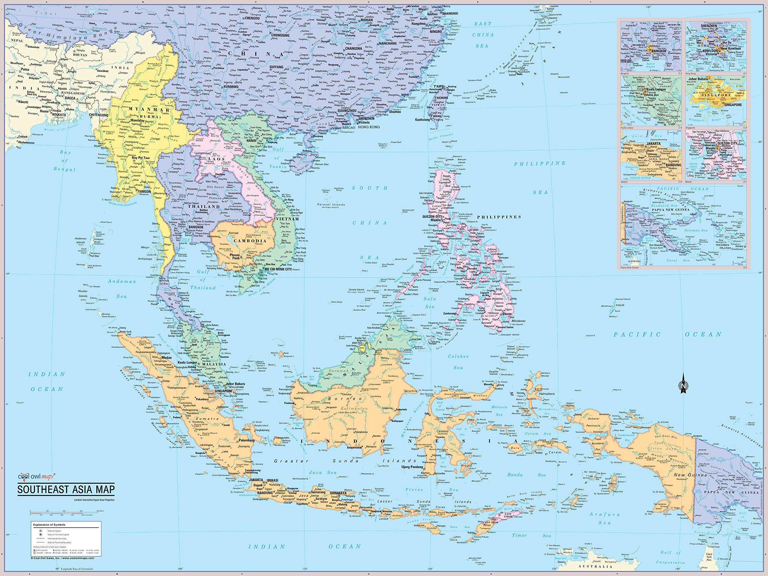 Cool Owl Maps Southeast Asia Wall Map Poster Laminated 32''x24''