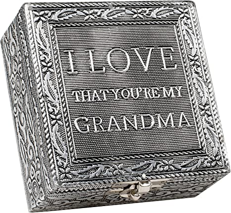 Cottage Garden I Love That You Are My Grandma Silver Color Metal Jewelry Keepsake Decorative Box Home Kitchen
