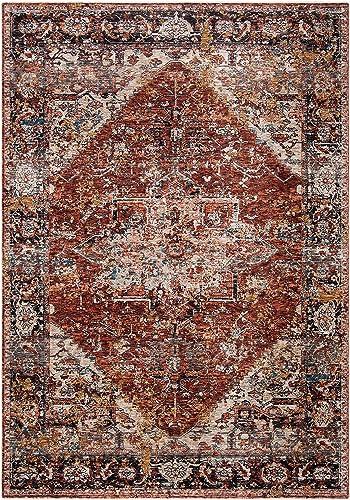 Safavieh Limitee Collection LIM766P Vintage Viscose Area Rug, 5 1 x 7 6 , Beige Rust