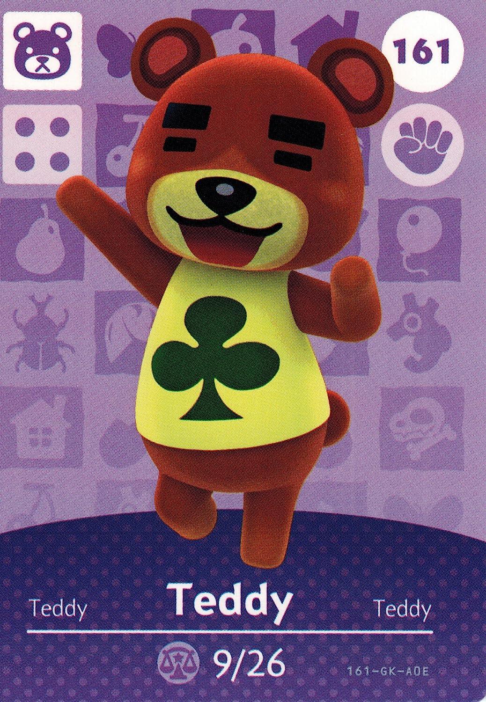 Nintendo Animal Crossing Happy Home Designer Amiibo Card Teddy 161/200 USA Version