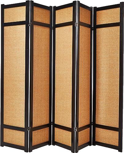 Oriental Furniture 6 ft. Tall Jute Shoji Screen – 5 Panel – Black
