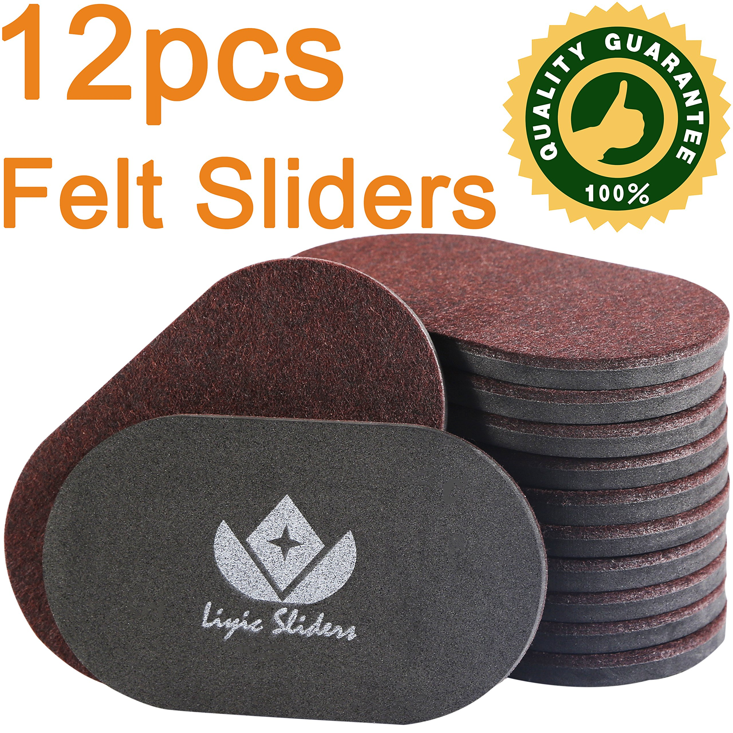 Liyic 12 Pack 6in. X 3.5in.Reusable Brown Oval Felt Furniture Sliders for Hard Surfaces.Premium Heavy Furniture Movers for Wooden Floor,Furniture Felt Slider Heavy Duty Felt Sliders Hard Floor Slider by Liyic (Image #4)