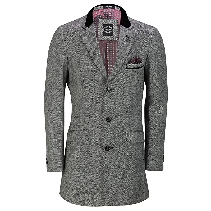 Men's Vintage Style Coats and Jackets Mens 3/4 Long Tweed Overcoat Jacket Vintage Styled Peaky Blinders Tailored Fit Coat £79.99 AT vintagedancer.com