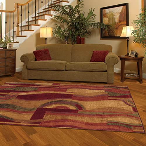 Mohawk Home New Wave Picasso Wine Abstract Printed Area Rug, 5 x8 , Multicolor