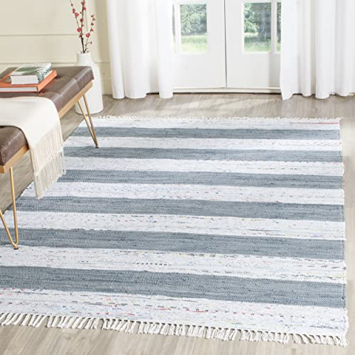 Safavieh Montauk Collection MTK720A Handmade Flatweave Ivory and Grey Cotton Area Rug 6 x 9