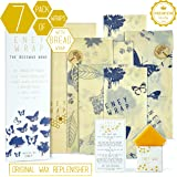 ENEY Premium Organic Beeswax Food Wrap   Set Of 7 Eco-Friendly Reusable Wraps   No Synthetic Wax or Chemicals   Includes 1 XL Bread Wrap, 2 Large, 2 Medium, 2 Small and Original Wax Replenisher