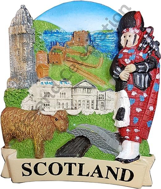 Imán de nevera de Escocia Piper vaca puente castillo escena ...