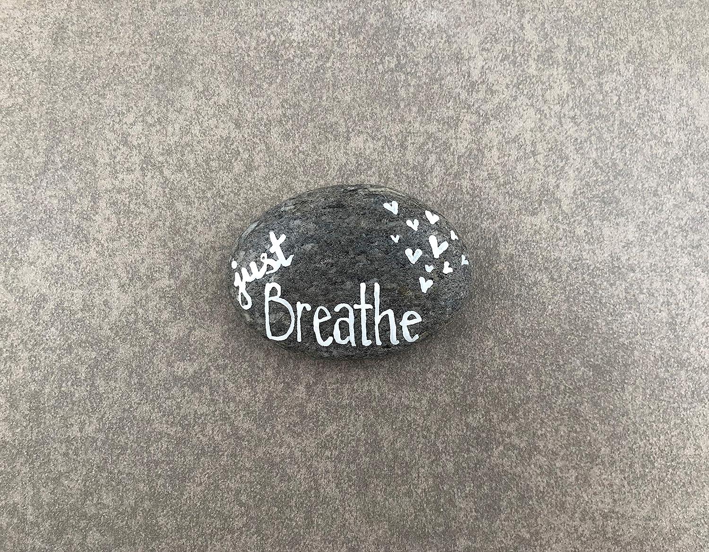 Just Breathe - Hand Painted Rock - Garden Decor | Garden Art | Garden Gift