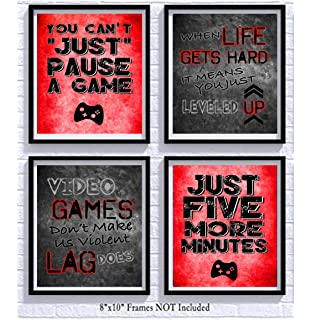 56c74167f714 Video Game Themed Art Print Room Wall Decoration (Set or Four) Gamer (Red