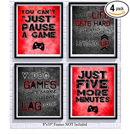 Gamer Video Game Themed Art Print Room Wall Decoration Set Or Four Camo Art Posters Art