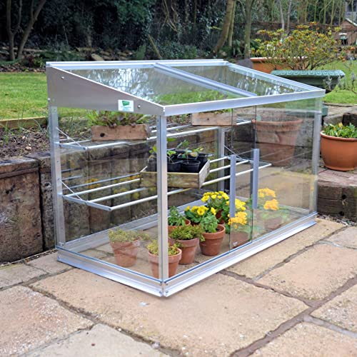 palram 4 x 2ft lean to mini greenhouse and base silver. Black Bedroom Furniture Sets. Home Design Ideas