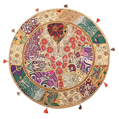 Stylo Culture Round Cotton Indian Floor Cushion Cover Vintage Embroidered Patchwork Beige 32