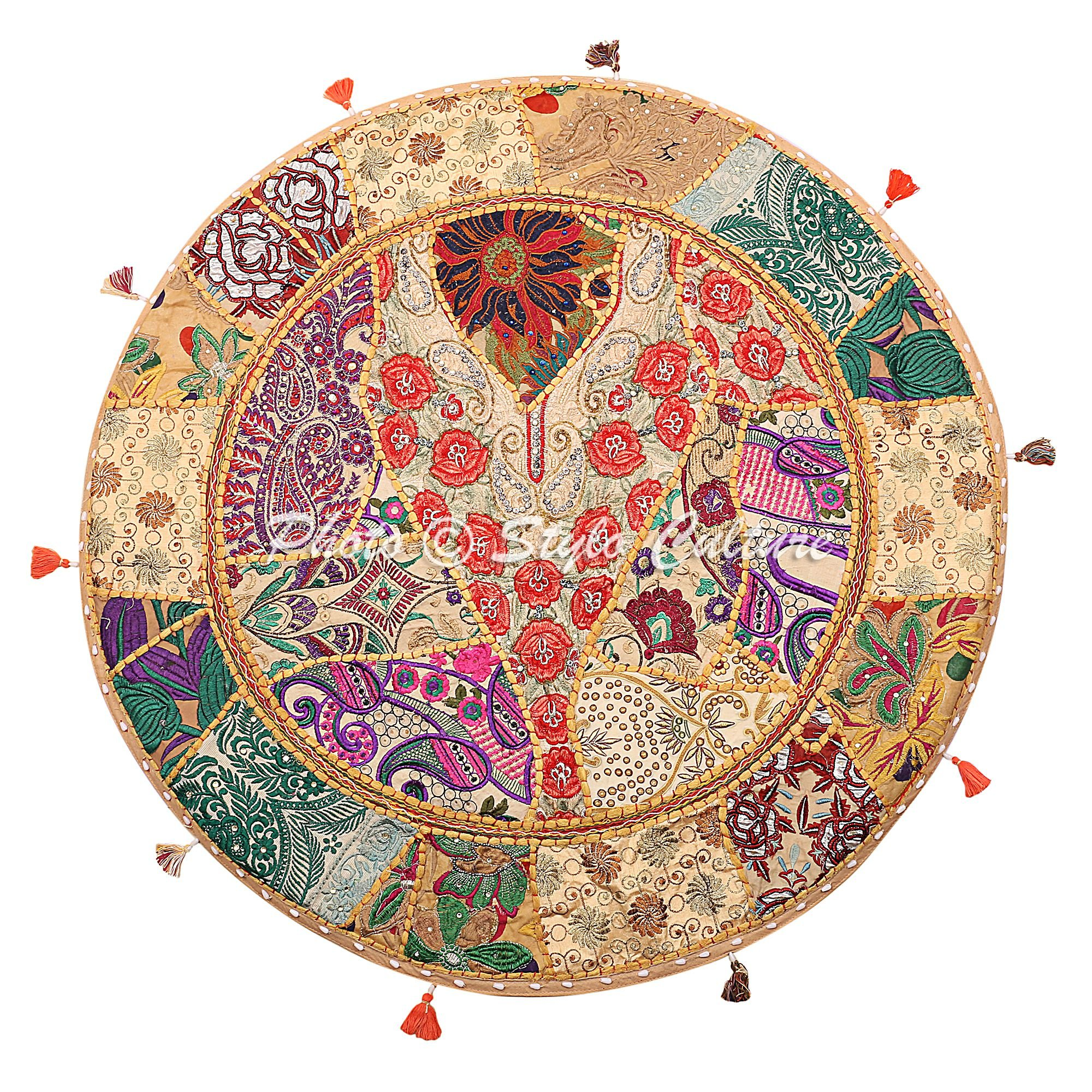Stylo Culture Round Cotton Indian Floor Cushion Cover Vintage Embroidered Patchwork Beige 32'' Hassock Floor Pillow Cover Extra Large
