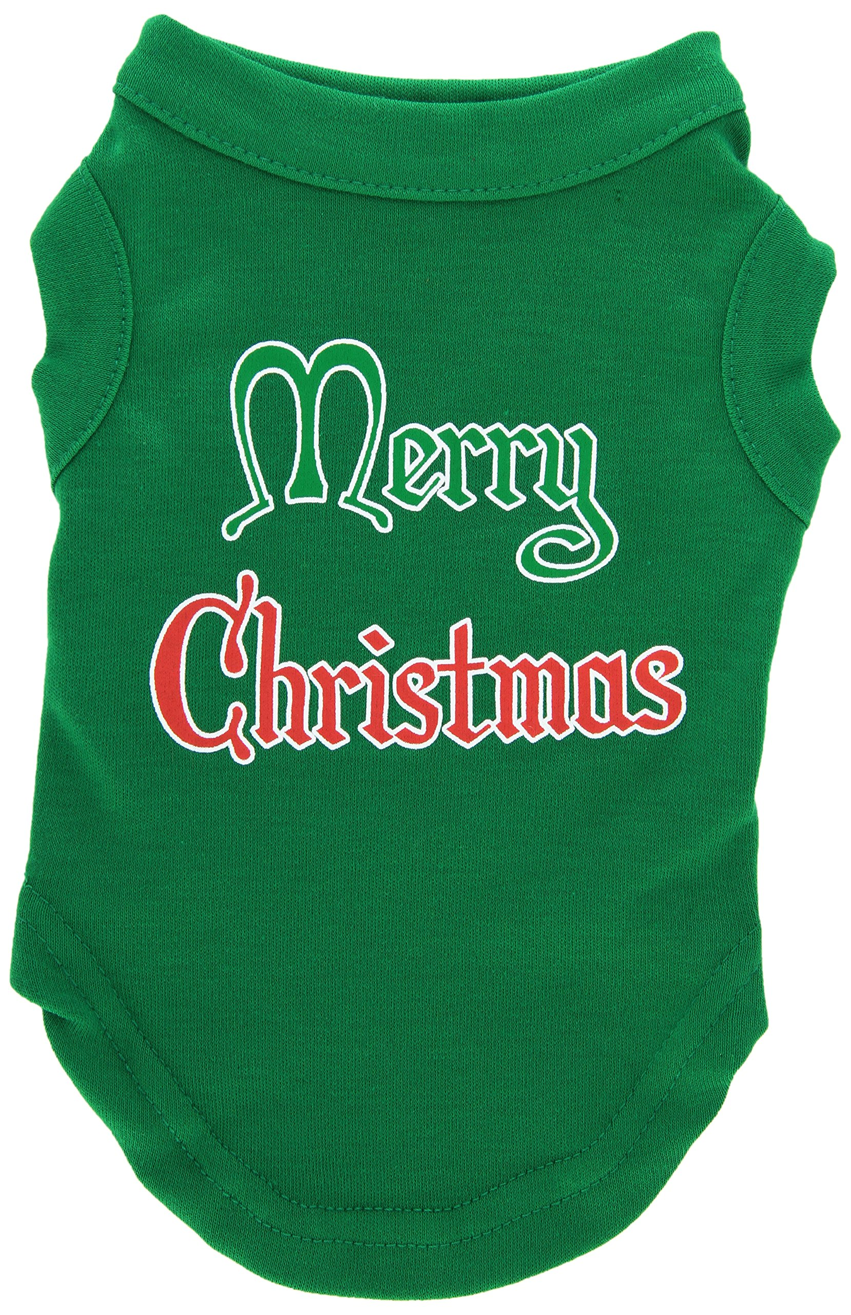 Mirage Pet Products 10-Inch Merry Christmas Screen Print Shirts for Pets, Small, Emerald Green