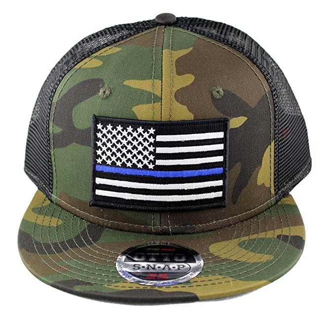 44022f086 Thin Blue Line Police US Flag Embroidered Iron on Patch Camo Flat Bill  Snapback Mesh Cap