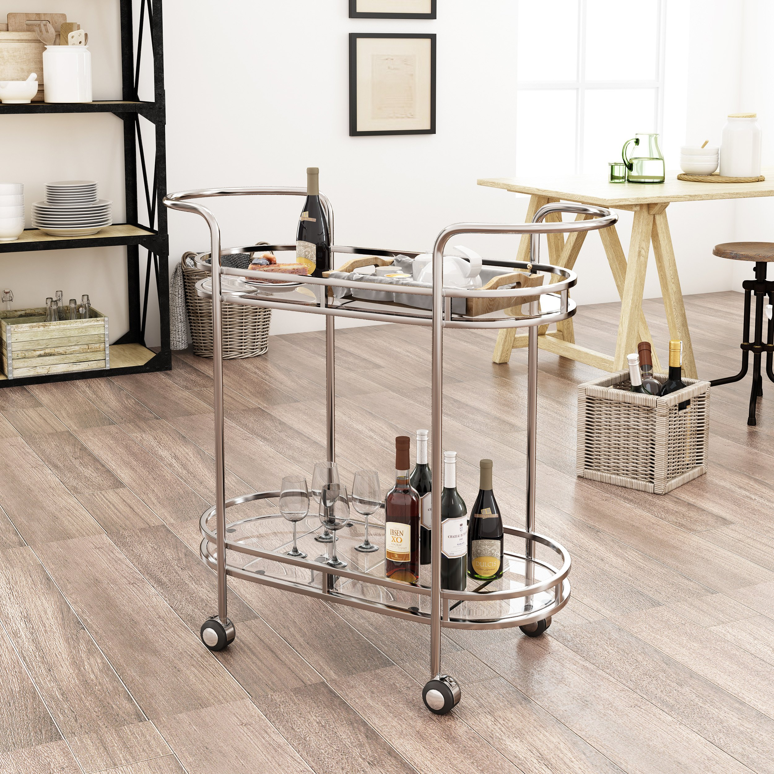 Michelle Modern Iron and Glass Bar Cart, Silver