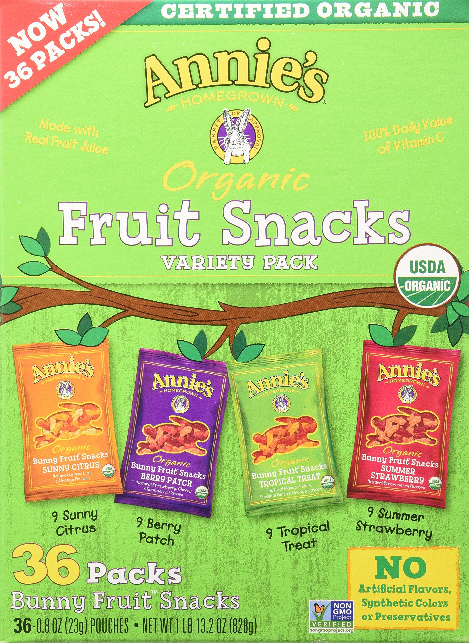 Annie's Homegrown Organic Vegan Fruit Snacks Variety Pack 36 Pouches - .8 Oz. Each