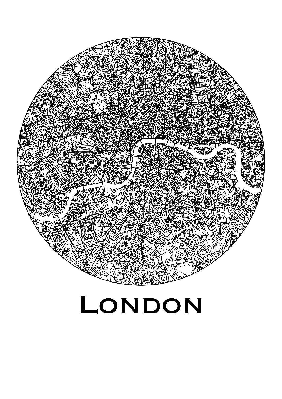 Map de Londres en noir et blanc