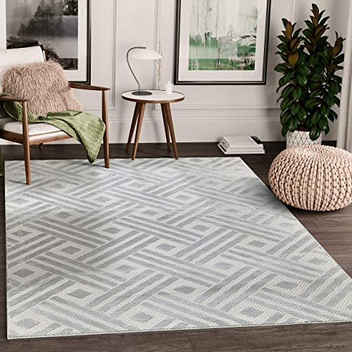 "Modern Grey Geometric Striped Chevron 7'9"" x 10'2"" Area Rug"
