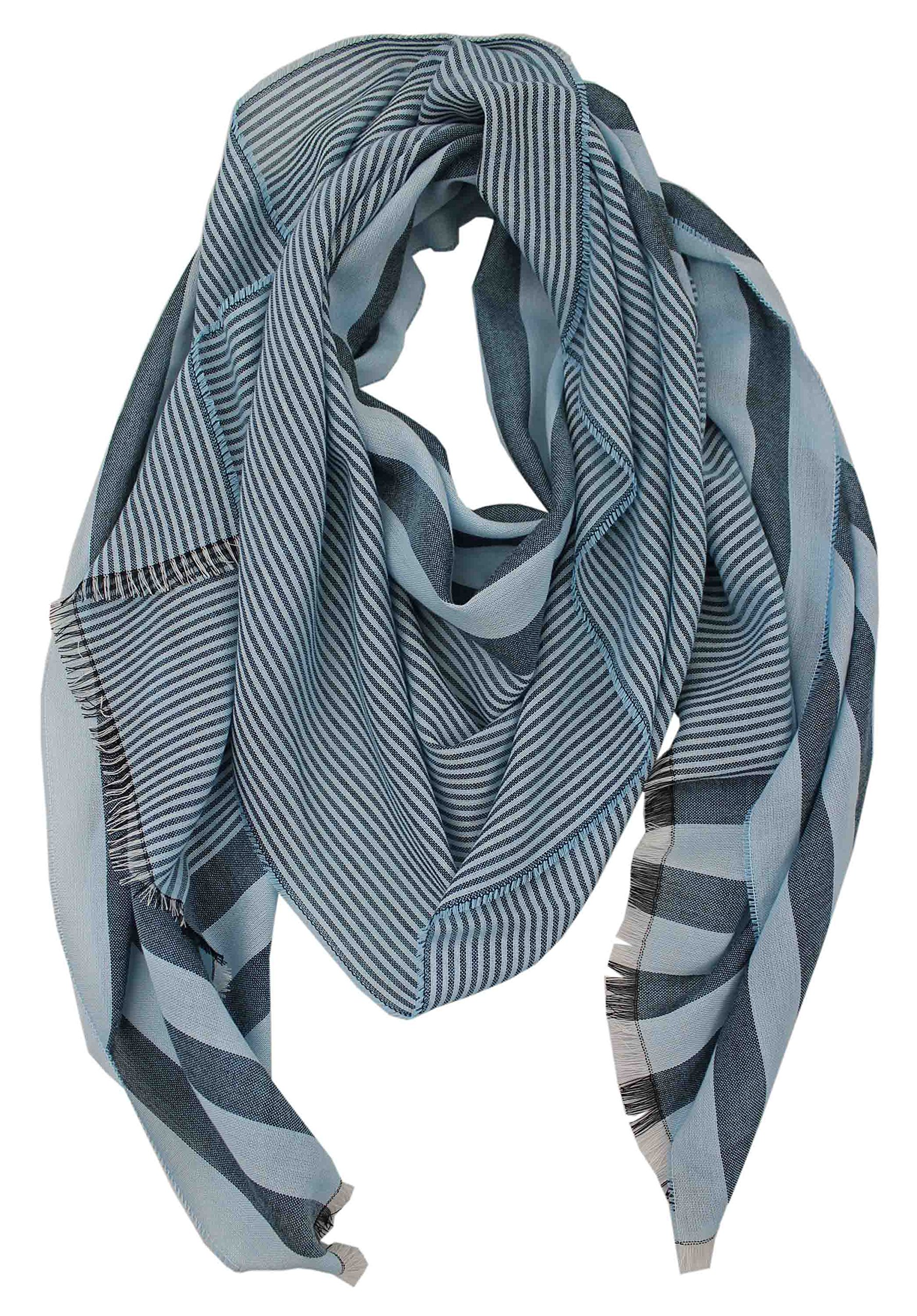 Cotton scarf Summer scarf Rotfuchs stripes light black blue 200 x 52 cm Made in Germany