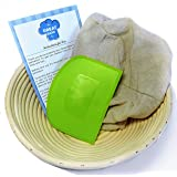 Banneton Proofing Set (4 pieces) - Premium 8.5 Inch Round Bread Proofing Brotform Basket, Dough Scraper, Linen Cloth Liner and Instructions by The Great Bake Co.