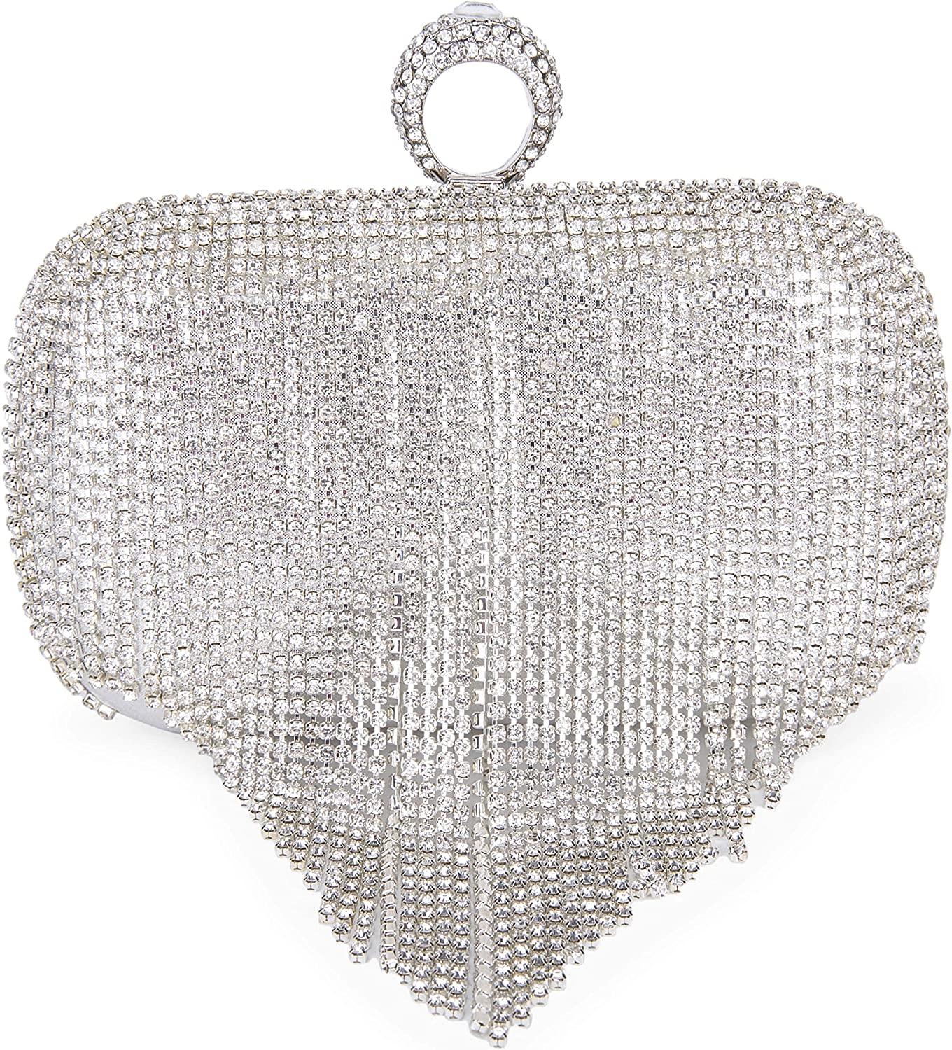 Clocolor Crystal Clutch Purses Evening Clutch Bag Rhinestone Series-Dazzling Ring Evening Bags for Wedding Party Purses