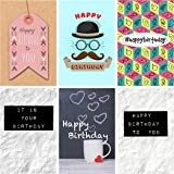 12 Various Novelty Design Birthday Cards & Envelopes by Greetingles. Made in UK