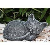 Garden ornament small Cat sleeping, Cast stone, Slate gray