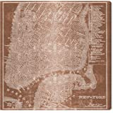 "Amazon Brand – Stone & Beam Modern Copper Print Wall Art of New York City Map on Canvas, 24"" x 24"""