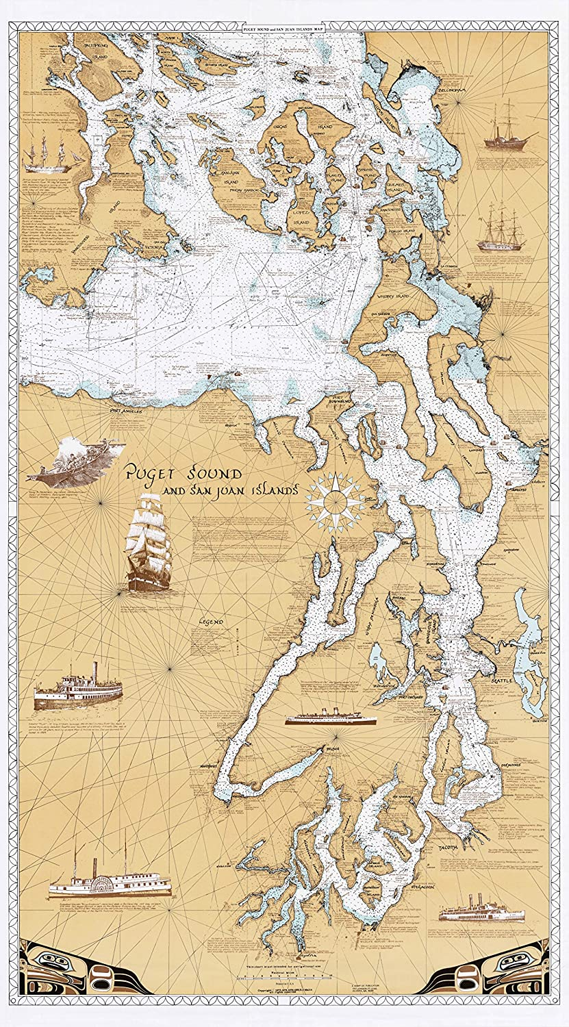 Sobay Map P001 - Puget Sound & San Juan Islands Chart - 30x54 Wall Map - Paper or Laminated (Paper)