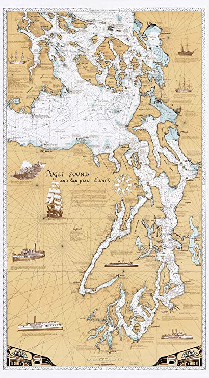 Amazon com sobay map p001 puget sound san juan islands chart