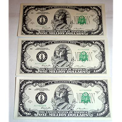 One Million Dollar Bills, Lot of 3 Bills, Look and Feel Real (1925): Toys & Games
