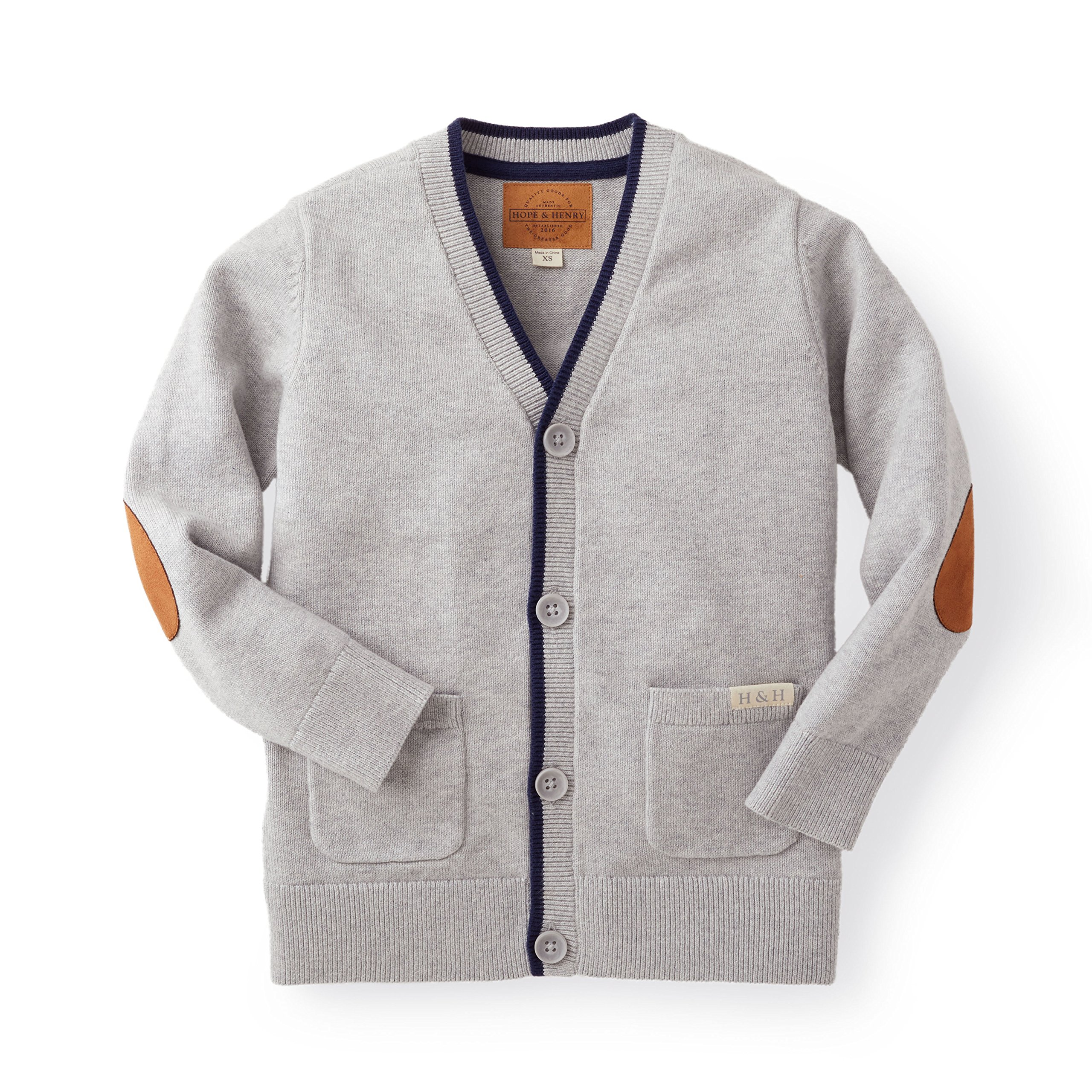 Hope & Henry Boys' Grey Cardigan Sweater Made with Organic Cotton