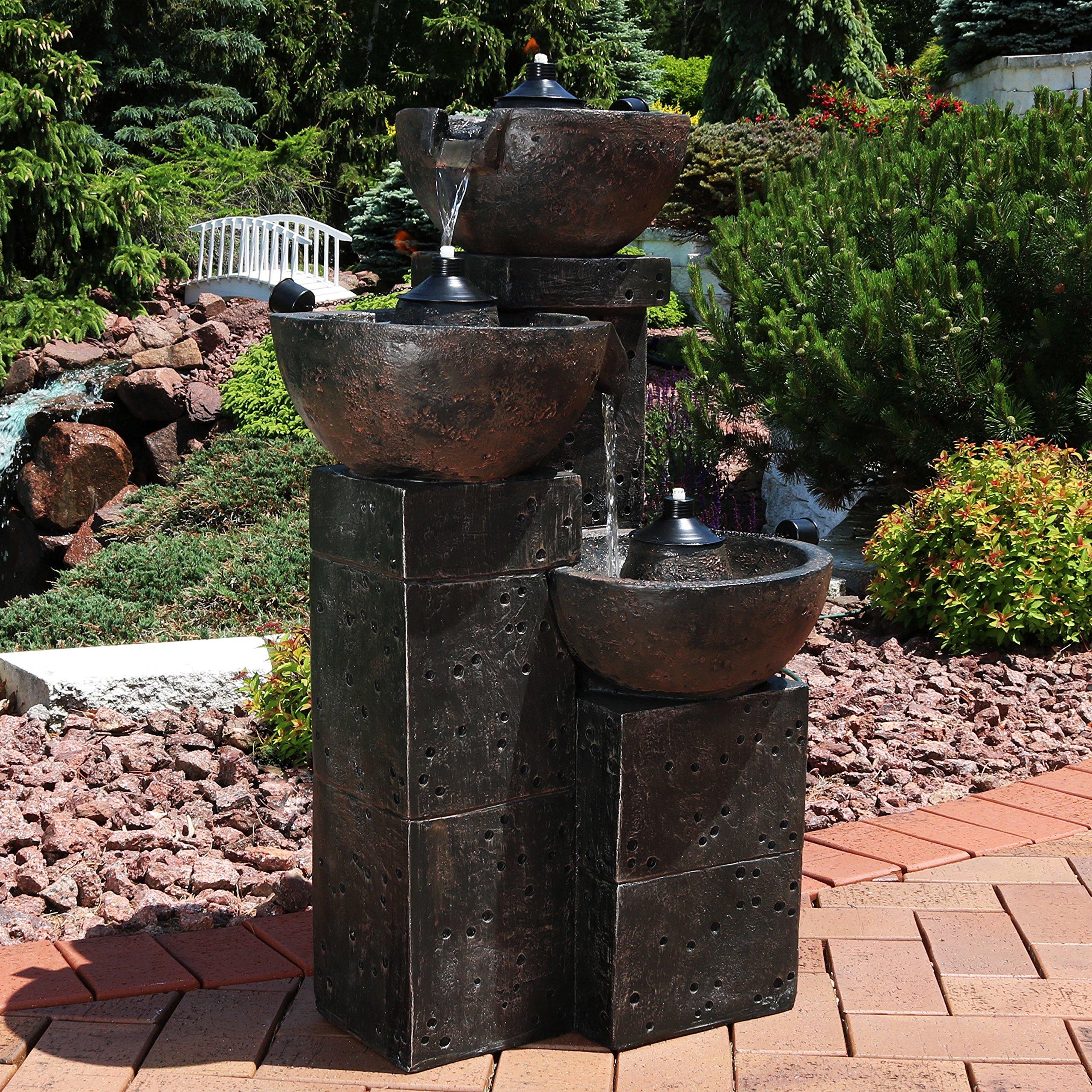 Sunnydaze Burning Bowls Outdoor Water Fountain - 3-Tier ...