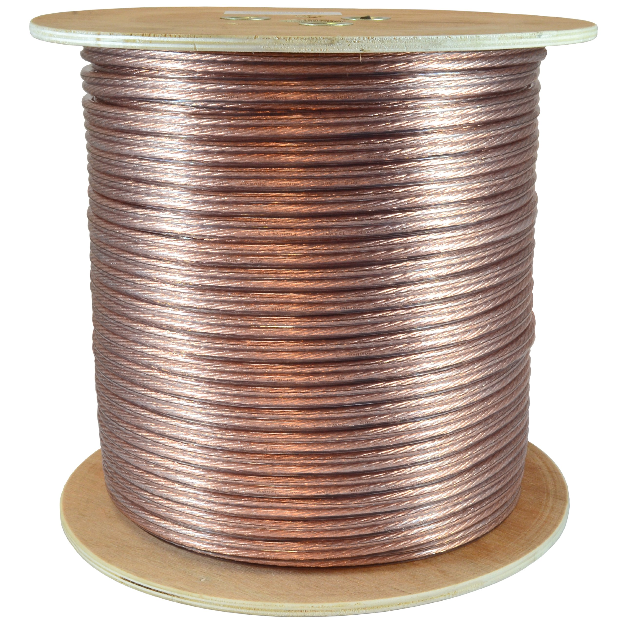 GLS Audio Premium 12 Gauge 500 Feet Speaker Wire - True 12AWG Speaker Cable 500ft Clear Jacket - High Quality 500' Spool Roll 12G 12/2 Bulk
